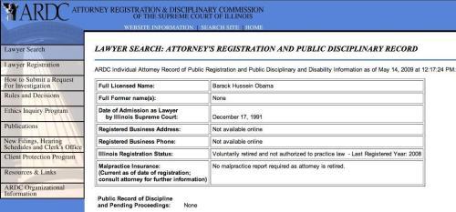 Barack Obama law license