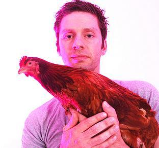 man meets chicken