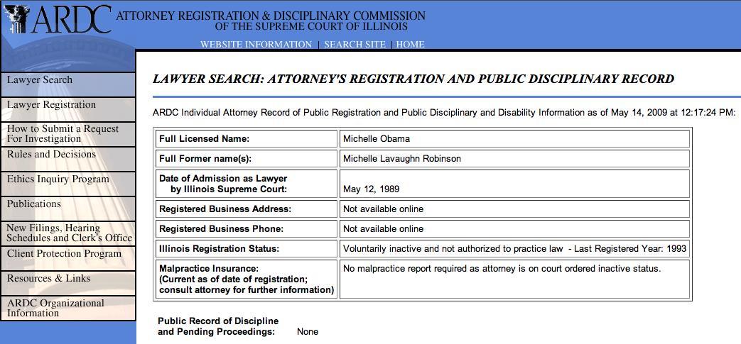 Obama Michelle Law License  Barack Obama Resume