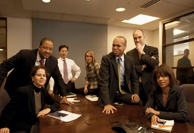 From left: CECILIA MUÑOZ, director, intergovernmental affairs; MICHAEL STRAUTMANIS, public liaison; CHRISTOPHER LU, Cabinet secretary; HEATHER HIGGINBOTTOM, deputy director, Domestic Policy Council; PATRICK GASPARD, political director; PHIL SCHILIRO, director of legislative affairs; MELODY BARNES, director, Domestic Policy Council.